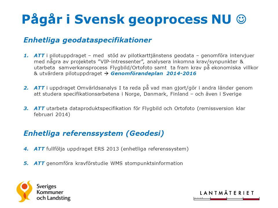 Pågår i Svensk geoprocess NU  Enhetliga geodataspecifikationer 1.ATT i pilotuppdraget – med stöd av pilotkarttjänstens geodata – genomföra intervjuer