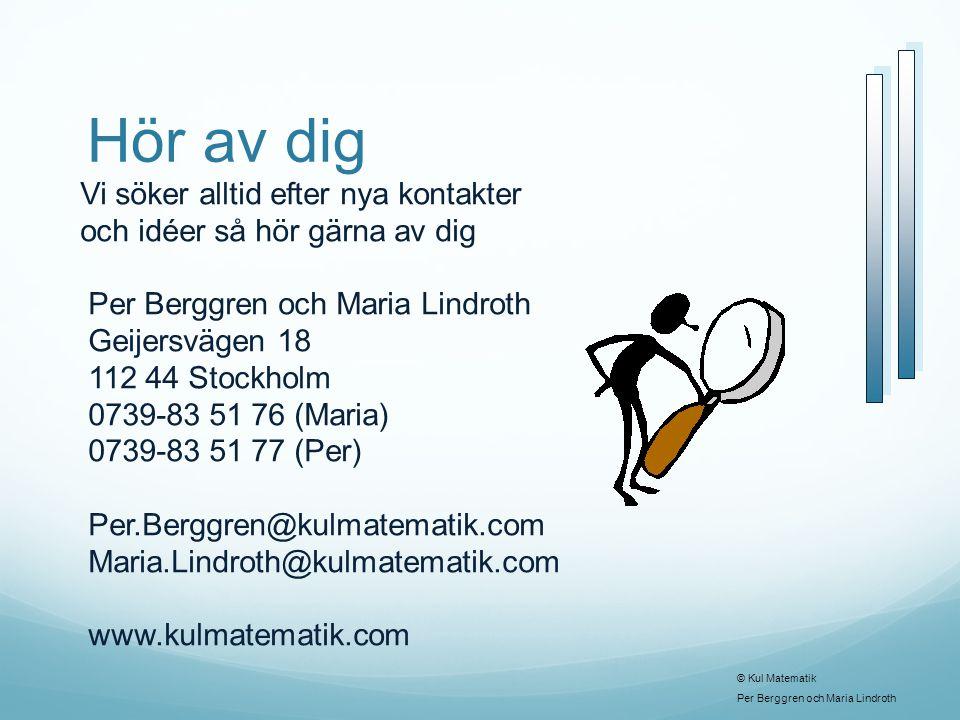 Hör av dig Vi söker alltid efter nya kontakter och idéer så hör gärna av dig Per Berggren och Maria Lindroth Geijersvägen 18 112 44 Stockholm 0739-83