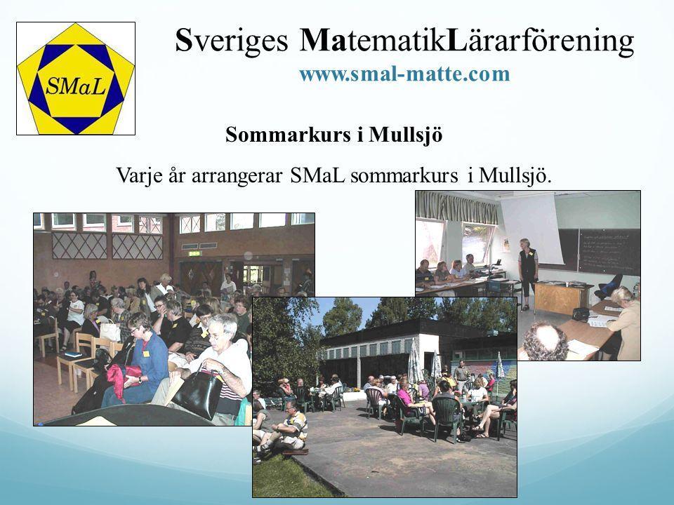 Sommarkurs i Mullsjö Varje år arrangerar SMaL sommarkurs i Mullsjö. Sveriges MatematikLärarförening www.smal-matte.com
