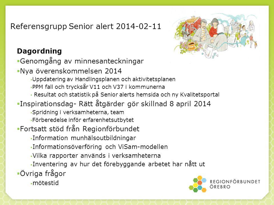 Referensgrupp Senior alert 2014-02-11 Dagordning  Genomgång av minnesanteckningar  Nya överenskommelsen 2014  Uppdatering av Handlingsplanen och ak