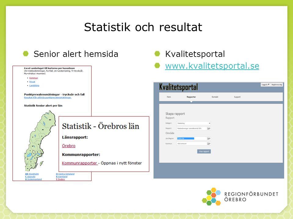 Statistik och resultat Kvalitetsportal www.kvalitetsportal.se Senior alert hemsida