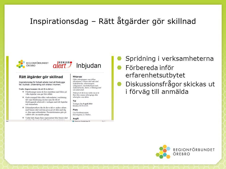 Inspirationsdag – Rätt åtgärder gör skillnad Spridning i verksamheterna Förbereda inför erfarenhetsutbytet Diskussionsfrågor skickas ut i förväg till