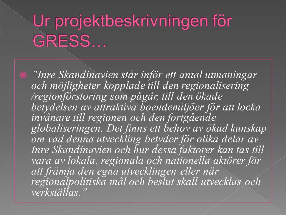  Inre Skandinavien står inför ett antal utmaningar och möjligheter kopplade till den regionalisering /regionförstoring som pågår, till den ökade betydelsen av attraktiva boendemiljöer för att locka invånare till regionen och den fortgående globaliseringen.