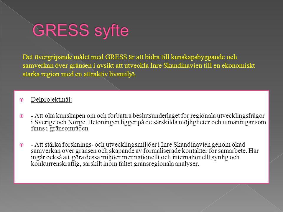  Delprojektmål:  - Att öka kunskapen om och förbättra beslutsunderlaget för regionala utvecklingsfrågor i Sverige och Norge.