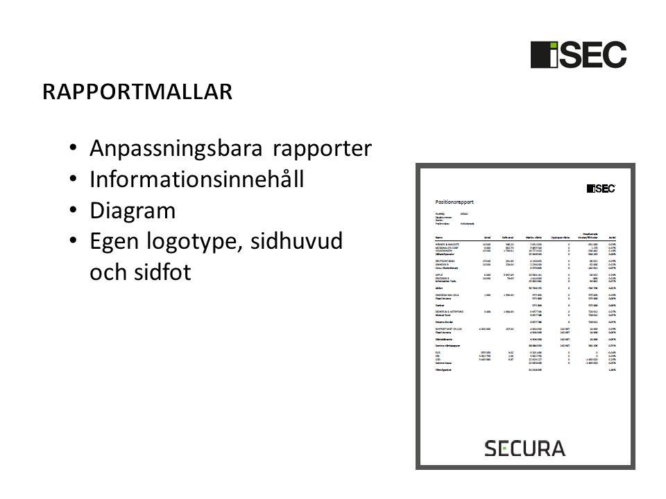 • Anpassningsbara rapporter • Informationsinnehåll • Diagram • Egen logotype, sidhuvud och sidfot