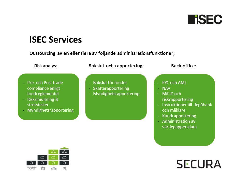 ISEC Services Outsourcing av en eller flera av följande administrationsfunktioner; Riskanalys:Bokslut och rapportering: Back-office: -Bokslut för fonder -Skatterapportering -Myndighetsrapportering -KYC och AML -NAV -MiFID och riskrapportering -Instruktioner till depåbank och mäklare -Kundrapportering -Administration av värdepappersdata -Pre- och Post trade compliance enligt fondreglementet -Risksimulering & stresstester -Myndighetsrapportering