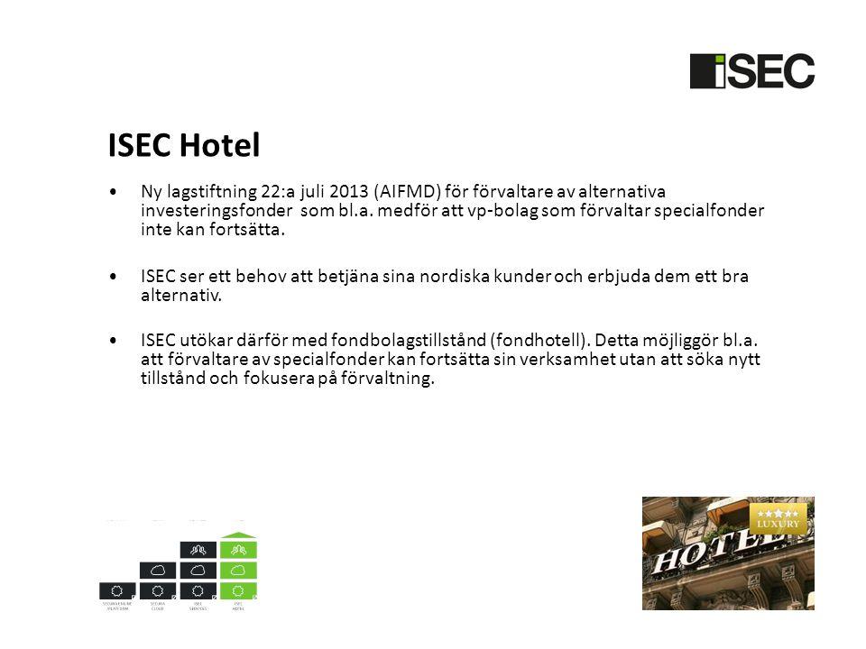 ISEC Hotel • Ny lagstiftning 22:a juli 2013 (AIFMD) för förvaltare av alternativa investeringsfonder som bl.a.