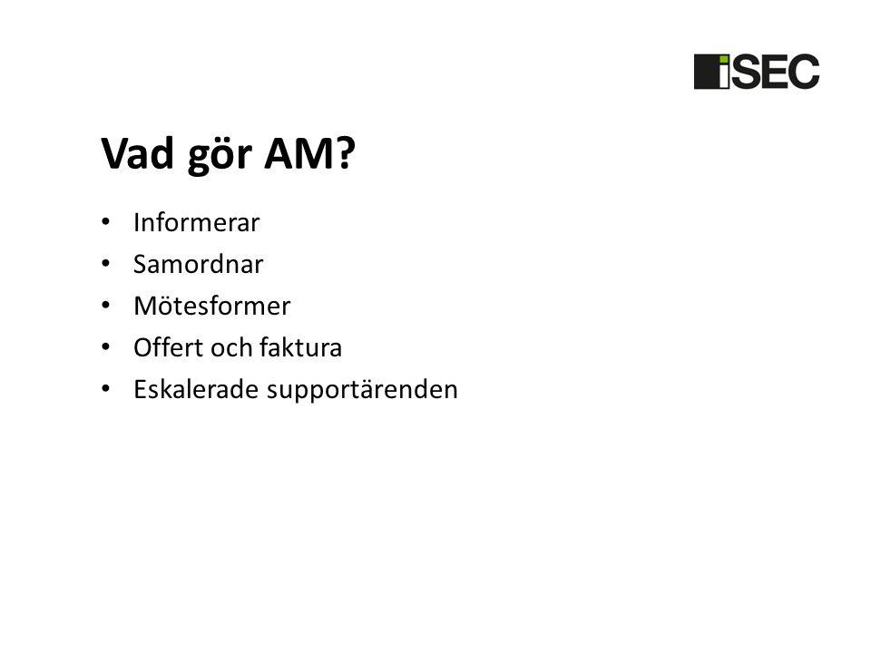 Vad gör AM? • Informerar • Samordnar • Mötesformer • Offert och faktura • Eskalerade supportärenden