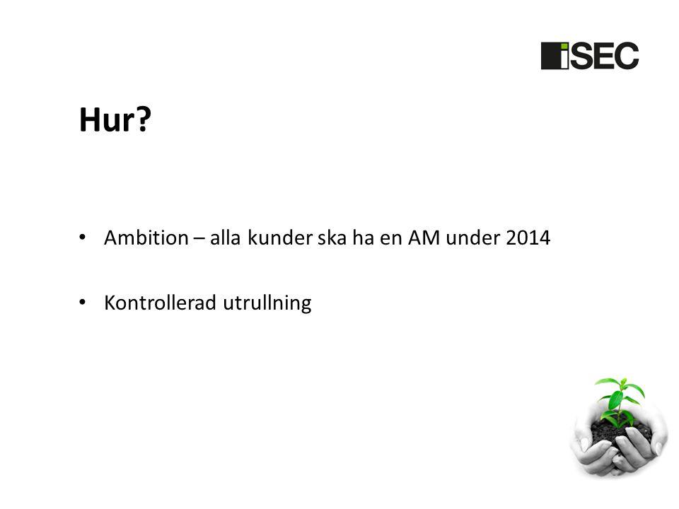 Hur? • Ambition – alla kunder ska ha en AM under 2014 • Kontrollerad utrullning
