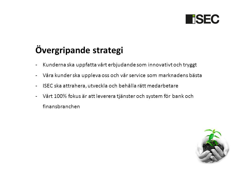 Övergripande strategi -Kunderna ska uppfatta vårt erbjudande som innovativt och tryggt -Våra kunder ska uppleva oss och vår service som marknadens bästa -ISEC ska attrahera, utveckla och behålla rätt medarbetare -Vårt 100% fokus är att leverera tjänster och system för bank och finansbranchen