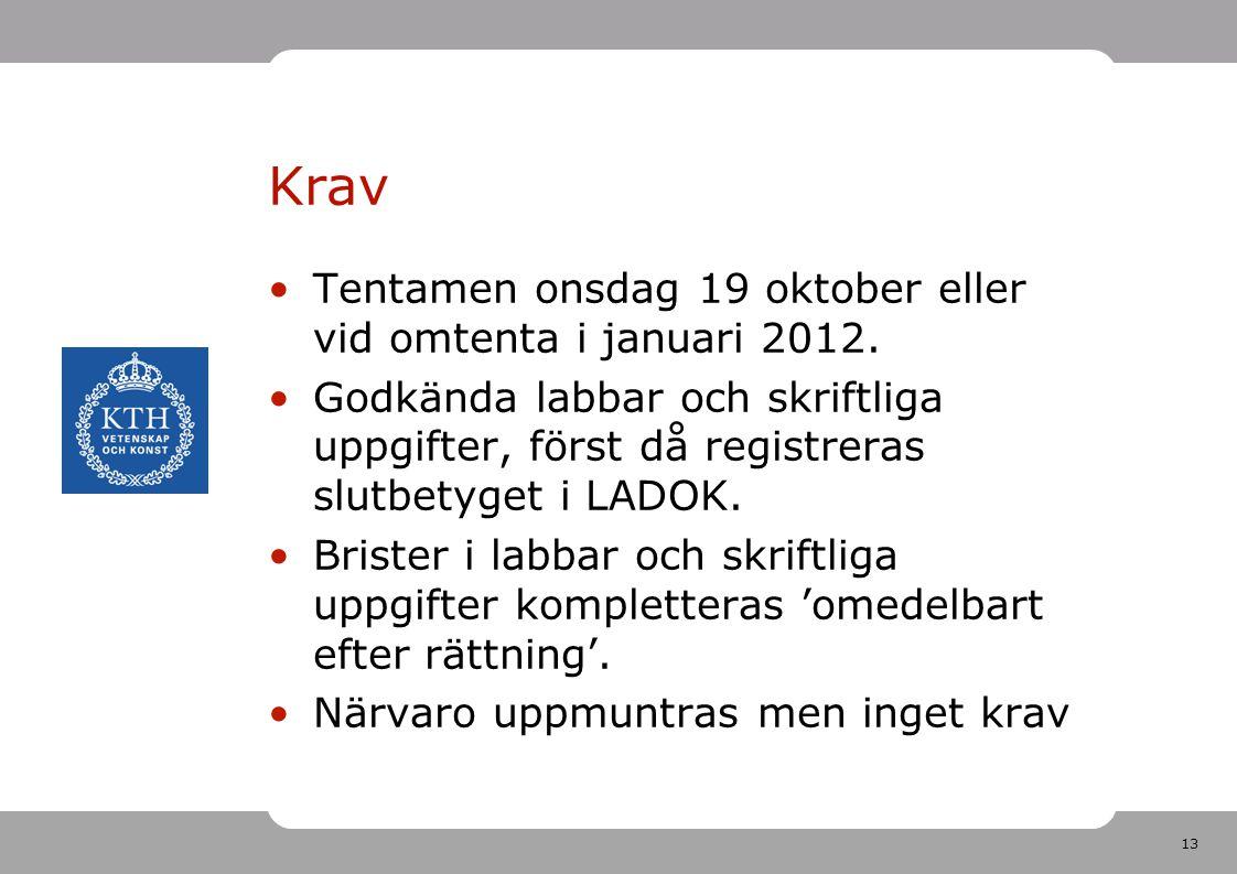 13 Krav •Tentamen onsdag 19 oktober eller vid omtenta i januari 2012. •Godkända labbar och skriftliga uppgifter, först då registreras slutbetyget i LA