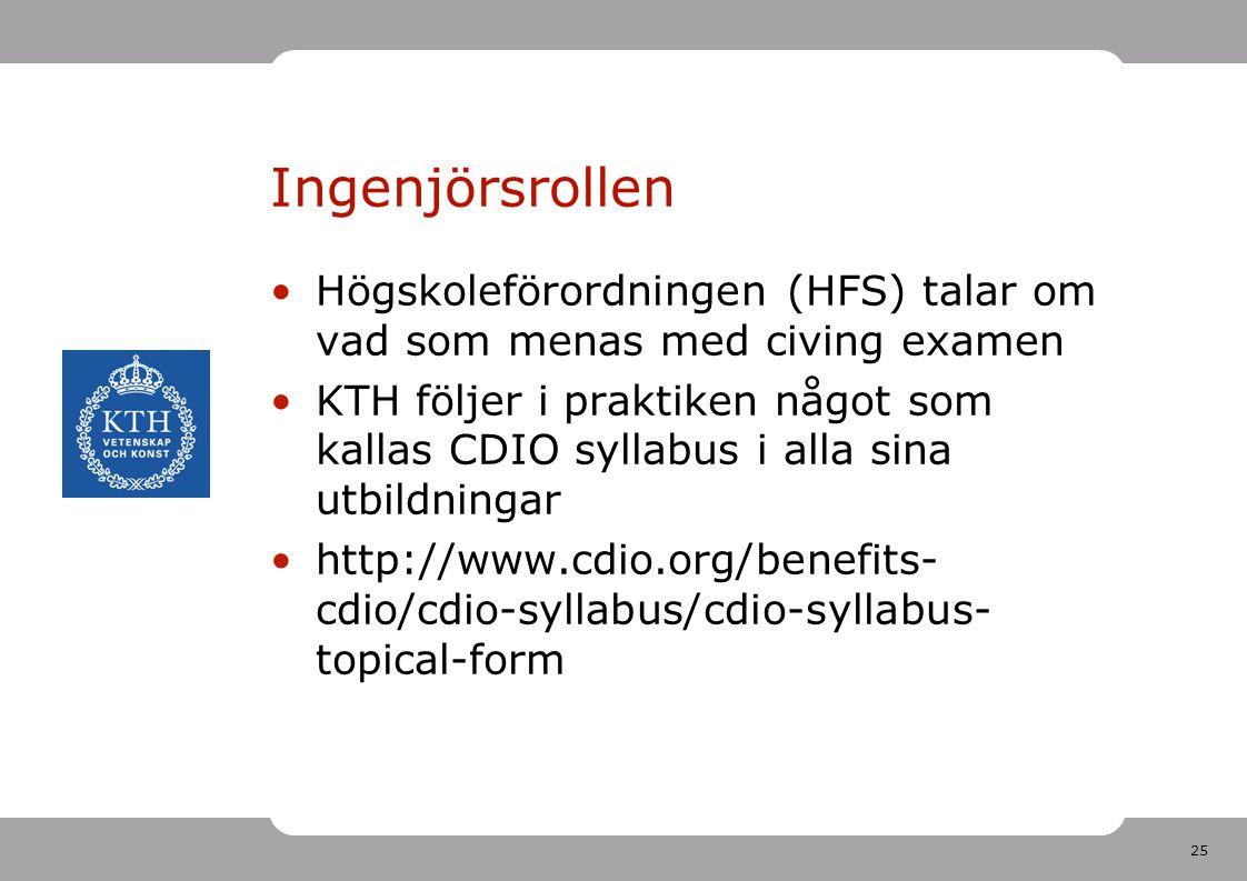 25 Ingenjörsrollen •Högskoleförordningen (HFS) talar om vad som menas med civing examen •KTH följer i praktiken något som kallas CDIO syllabus i alla