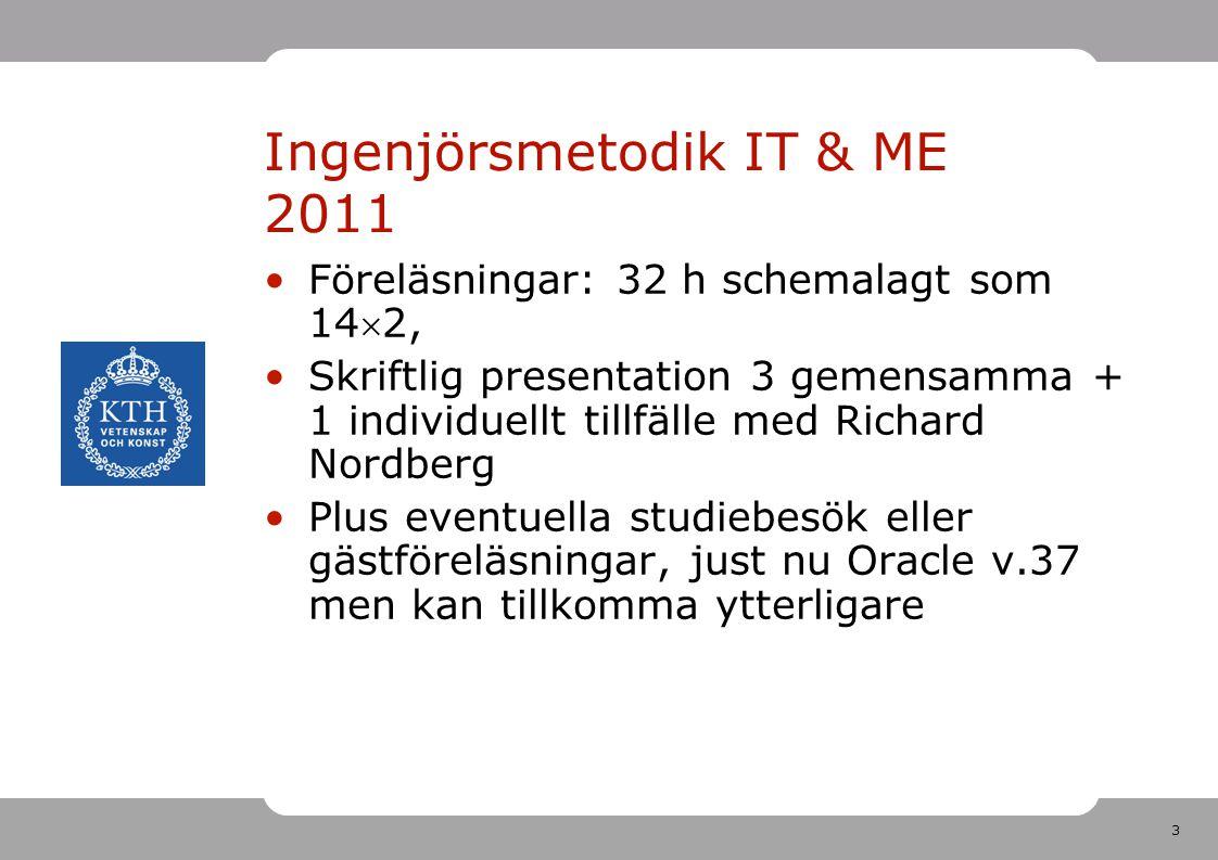3 Ingenjörsmetodik IT & ME 2011 •Föreläsningar: 32 h schemalagt som 142, •Skriftlig presentation 3 gemensamma + 1 individuellt tillfälle med Richard
