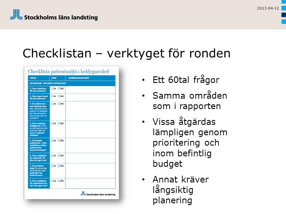 Checklistan – verktyget för ronden 2013-04-12 • Ett 60tal frågor • Samma områden som i rapporten • Vissa åtgärdas lämpligen genom prioritering och inom befintlig budget • Annat kräver långsiktig planering