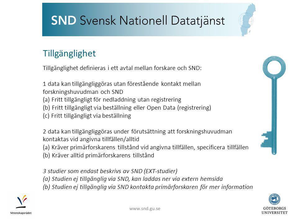 Tillgänglighet Tillgänglighet definieras i ett avtal mellan forskare och SND: 1 data kan tillgängliggöras utan förestående kontakt mellan forskningshuvudman och SND (a) Fritt tillgängligt för nedladdning utan registrering (b) Fritt tillgängligt via beställning eller Open Data (registrering) (c) Fritt tillgängligt via beställning 2 data kan tillgängliggöras under förutsättning att forskningshuvudman kontaktas vid angivna tillfällen/alltid (a) Kräver primärforskarens tillstånd vid angivna tillfällen, specificera tillfällen (b) Kräver alltid primärforskarens tillstånd 3 studier som endast beskrivs av SND (EXT-studier) (a) Studien ej tillgänglig via SND, kan laddas ner via extern hemsida (b) Studien ej tillgänglig via SND kontakta primärforskaren för mer information