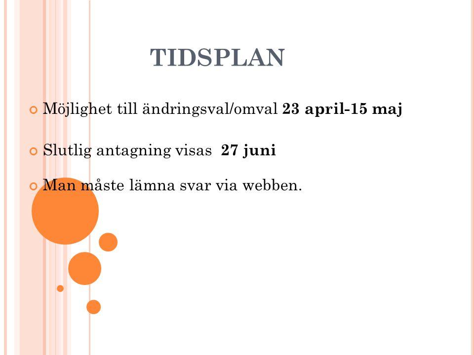 TIDSPLAN Möjlighet till ändringsval/omval 23 april-15 maj Slutlig antagning visas 27 juni Man måste lämna svar via webben.