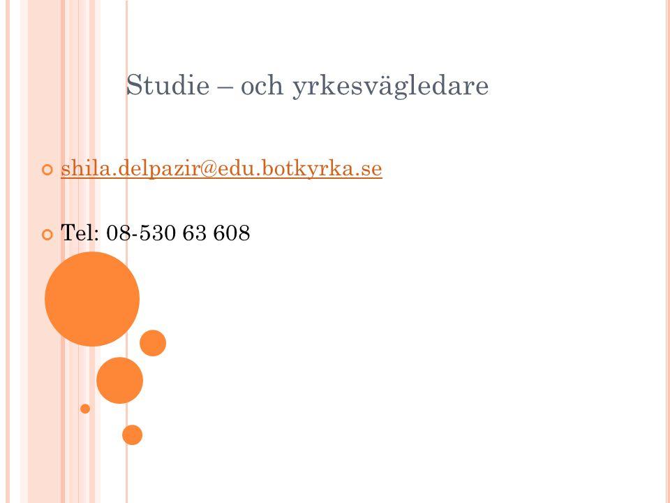 Studie – och yrkesvägledare shila.delpazir@edu.botkyrka.se Tel: 08-530 63 608