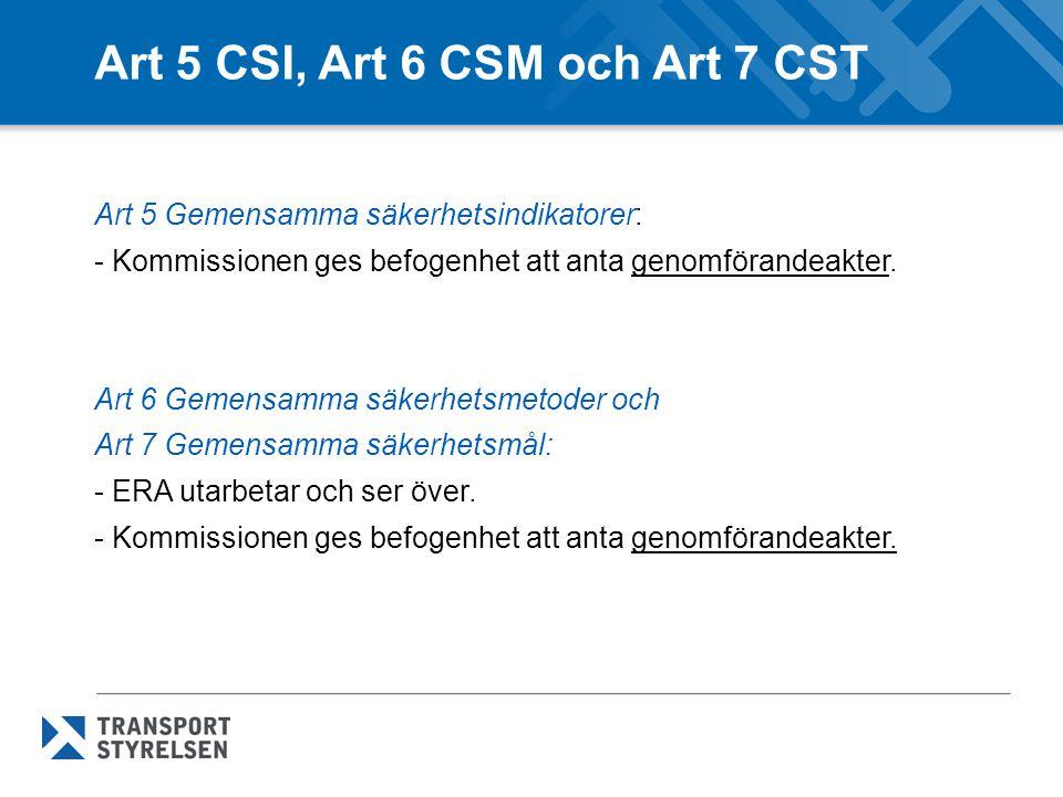 Art 5 CSI, Art 6 CSM och Art 7 CST Art 5 Gemensamma säkerhetsindikatorer: - Kommissionen ges befogenhet att anta genomförandeakter. Art 6 Gemensamma s