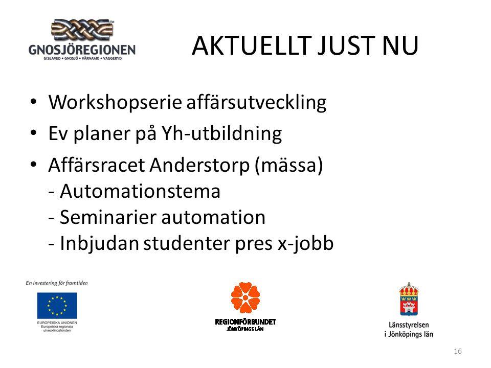 AKTUELLT JUST NU • Workshopserie affärsutveckling • Ev planer på Yh-utbildning • Affärsracet Anderstorp (mässa) - Automationstema - Seminarier automation - Inbjudan studenter pres x-jobb 16