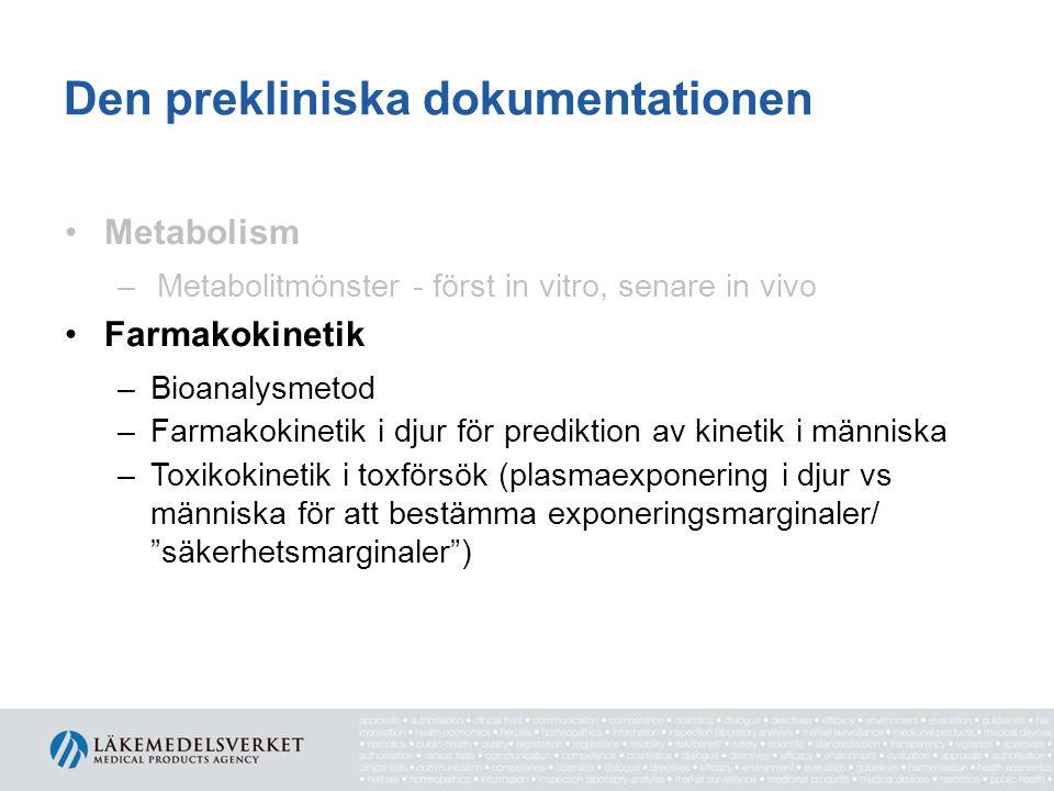 Den prekliniska dokumentationen •Metabolism –Metabolitmönster - först in vitro, senare in vivo •Farmakokinetik –Bioanalysmetod –Farmakokinetik i djur