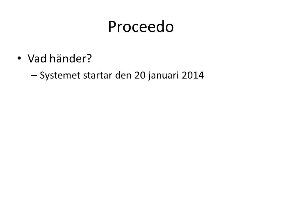 Proceedo • Vad händer? – Systemet startar den 20 januari 2014