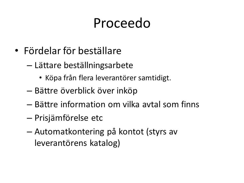 Proceedo • Fördelar för beställare – Lättare beställningsarbete • Köpa från flera leverantörer samtidigt.
