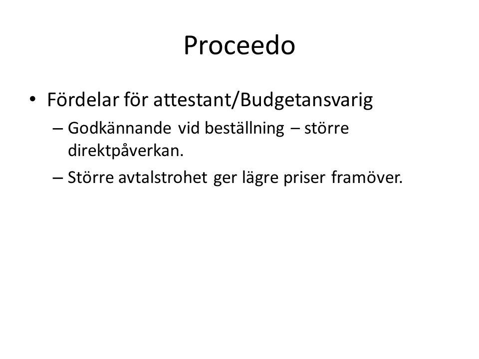 Proceedo • Fördelar för attestant/Budgetansvarig – Godkännande vid beställning – större direktpåverkan.