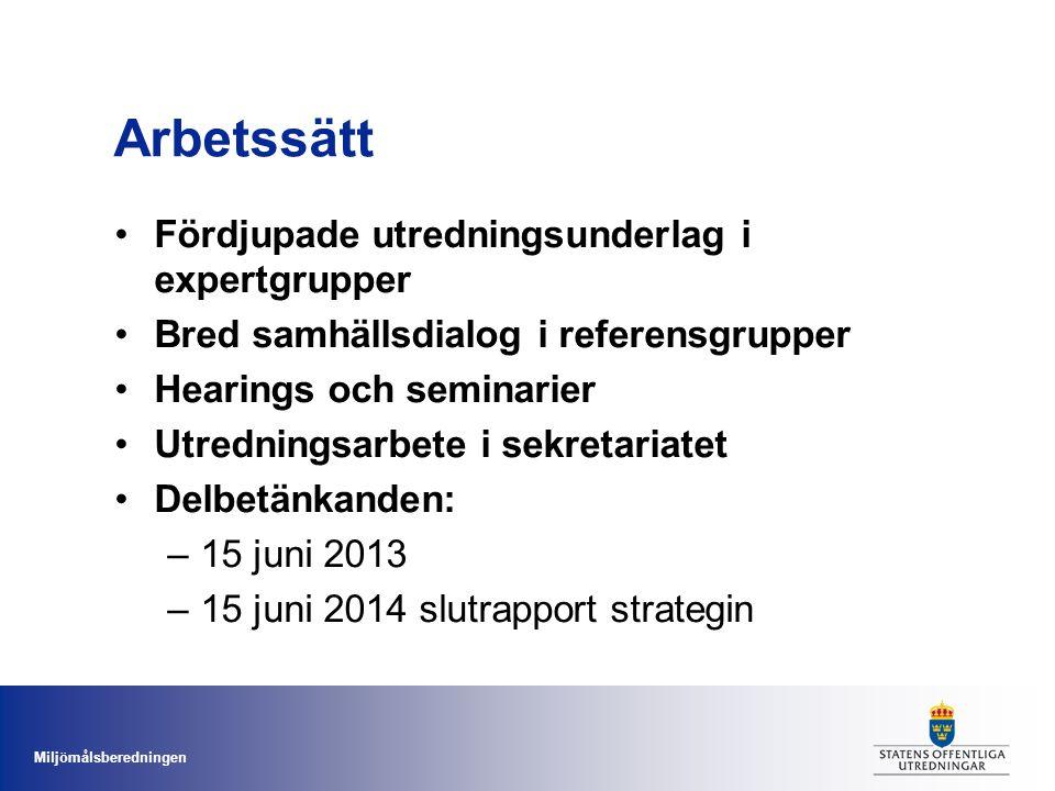 Miljömålsberedningen Arbetssätt •Fördjupade utredningsunderlag i expertgrupper •Bred samhällsdialog i referensgrupper •Hearings och seminarier •Utredningsarbete i sekretariatet •Delbetänkanden: –15 juni 2013 –15 juni 2014 slutrapport strategin