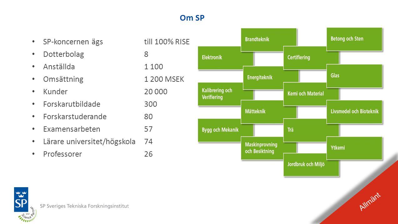 BILDEXPEL Raderas från presentationen Avdelningen Bygg och Mekanik Allmänt •Drygt 60 medarbetare •Verksamhet i Borås och Göteborg •Exempel på områden –snabba förlopp (krockprov, fallprov, stöt …) –dynamiska förlopp (jordbävning, vibration …) –Finita Element beräkningar –mekanisk/komponent provning (temperatur, miljö …] –materialteknik (metaller, kompositer, polymerer, sten, betong … ) –utmattning –statistik –risk, säkerhet, skyddsutrustning … –skadeutredningar •Kunder inom nästan alla branscher med tyngdpunkt på: fordon, verkstad, bygg, rör, säkerhet, medicinteknik och energi