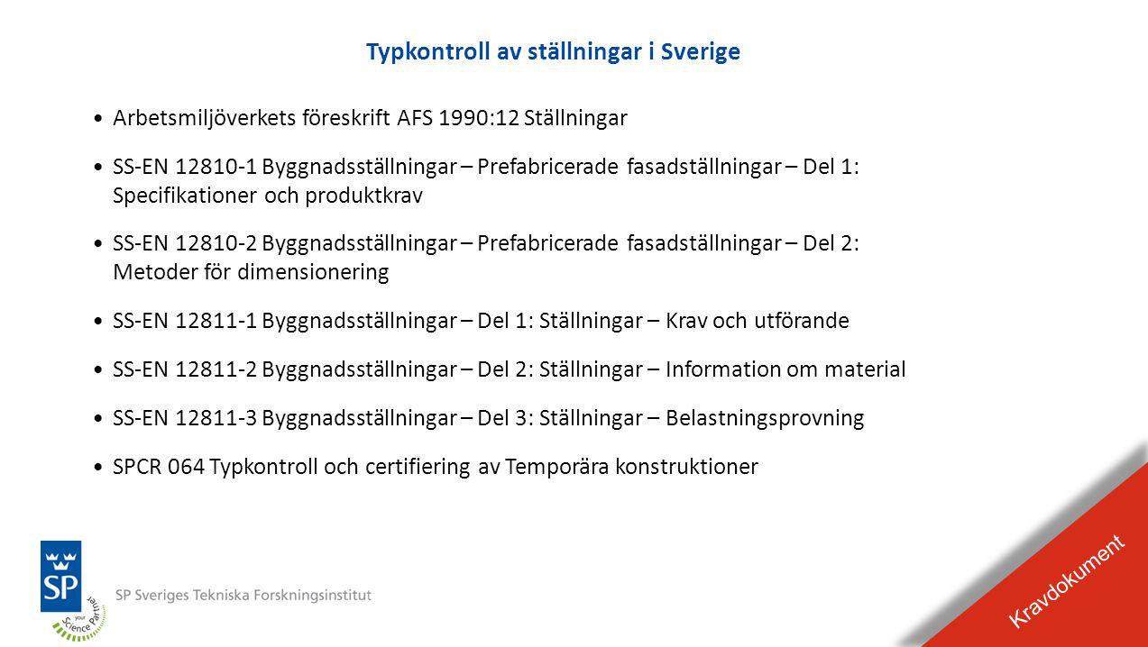 BILDEXPEL Raderas från presentationen Typkontroll av ställningar i Sverige Kravdokument •Arbetsmiljöverkets föreskrift AFS 1990:12 Ställningar •SS-EN