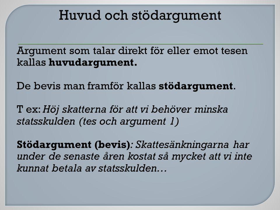 Argument som talar direkt för eller emot tesen kallas huvudargument.