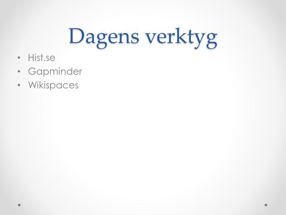 Dagens verktyg • Hist.se • Gapminder • Wikispaces