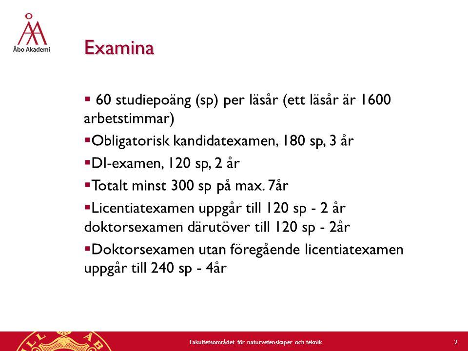 2 Examina  60 studiepoäng (sp) per läsår (ett läsår är 1600 arbetstimmar)  Obligatorisk kandidatexamen, 180 sp, 3 år  DI-examen, 120 sp, 2 år  Totalt minst 300 sp på max.