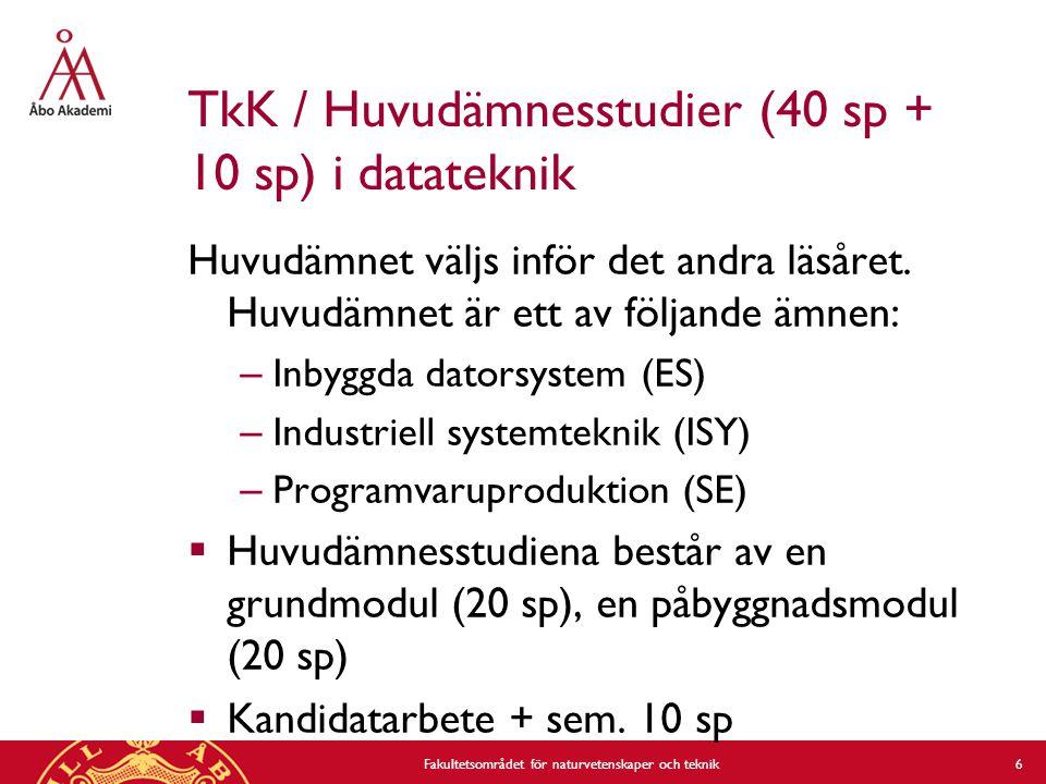 TkK / Huvudämnesstudier (40 sp + 10 sp) i datateknik Huvudämnet väljs inför det andra läsåret.