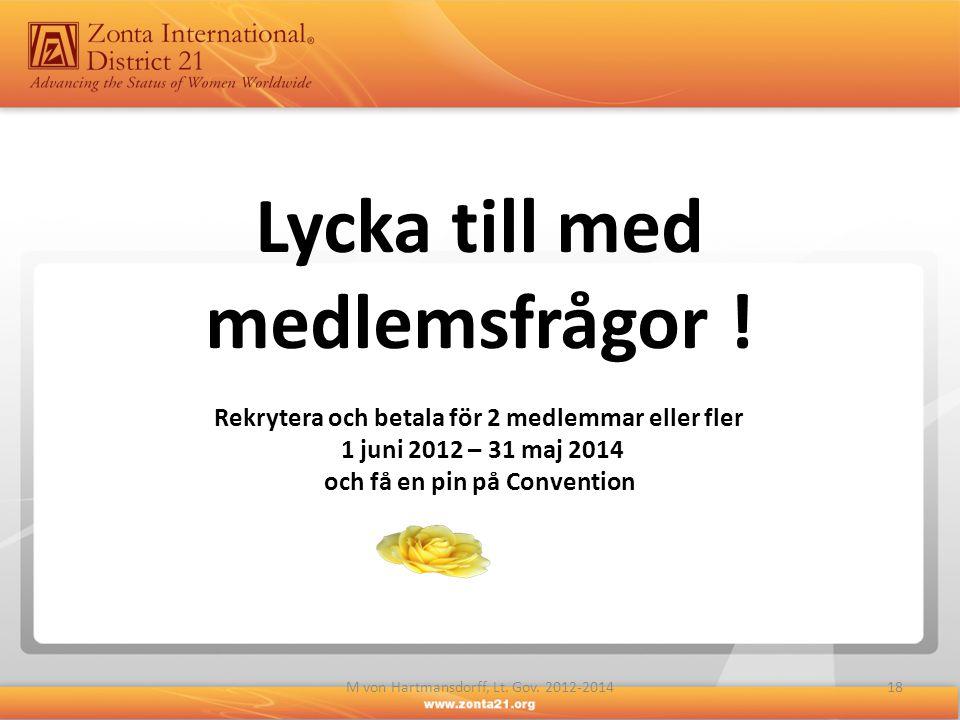 Lycka till med medlemsfrågor ! Rekrytera och betala för 2 medlemmar eller fler 1 juni 2012 – 31 maj 2014 och få en pin på Convention 18M von Hartmansd