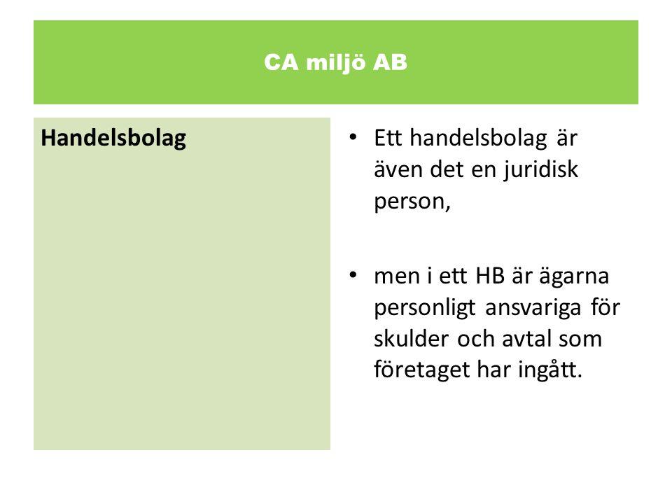 CA miljö AB Enskild firma • En enskild firma är, till skillnad från de ovan nämnda bolagsformerna, inte en juridisk person och kan heller inte ha fler än en ägare.