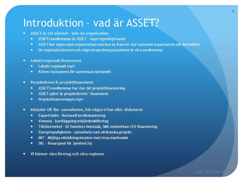 Nationell besökshantering  Underlätta för besökare att nå rätt svenska företag  Underlätta för svenska företag att nå rätt inkommande besökare  En tydlig koppling finns till Exportrådets SymbioCity -nästa steg att ta, då intresse väckts på ett SymbioCity-seminarie  2011-2014 – pilot/förstudie 2011  Finansieras av Exportrådet och ASSETS medlemmar 50/50  Exportrådet finansierar samordning  ASSETs medlemmar finansierar besökshanteringen ASSET 2012-04-17 5
