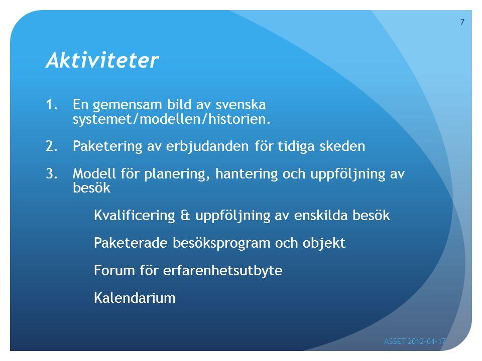 Aktiviteter 1.En gemensam bild av svenska systemet/modellen/historien.