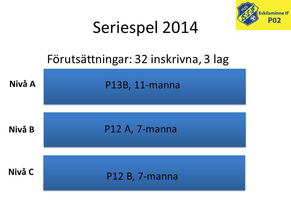Seriespel 2014 Förutsättningar: 32 inskrivna, 3 lag Nivå A Nivå B Nivå C P13B, 11-manna P12 A, 7-manna P12 B, 7-manna