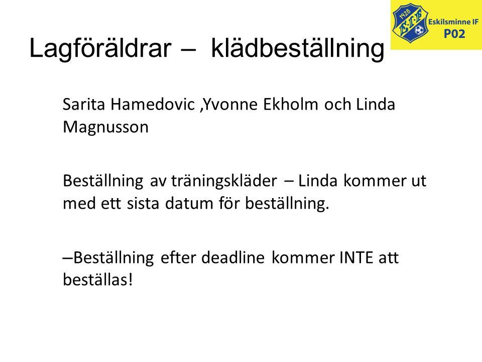 Lagföräldrar – klädbeställning Sarita Hamedovic,Yvonne Ekholm och Linda Magnusson Beställning av träningskläder – Linda kommer ut med ett sista datum