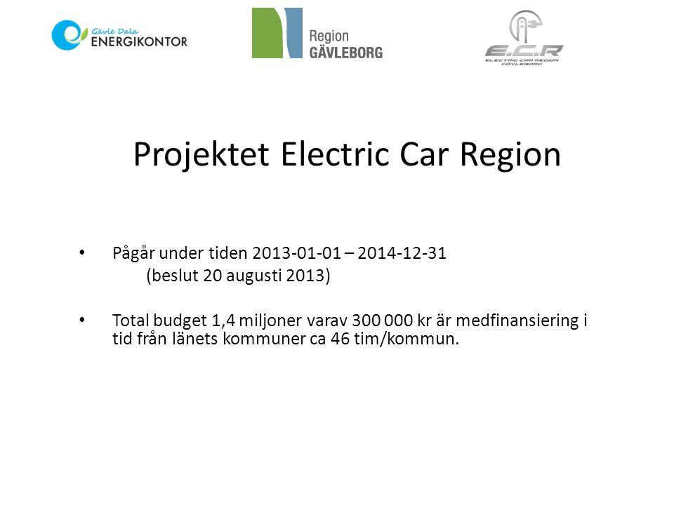 Projektet Electric Car Region • Pågår under tiden 2013-01-01 – 2014-12-31 (beslut 20 augusti 2013) • Total budget 1,4 miljoner varav 300 000 kr är medfinansiering i tid från länets kommuner ca 46 tim/kommun.