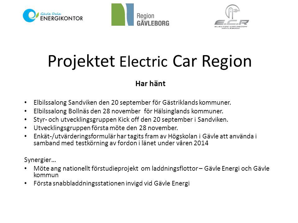Projektet Electric Car Region På gång • Länets kommuner får testa och utvärdera elbilar i verksamheten under minst en vecka under våren 2014.