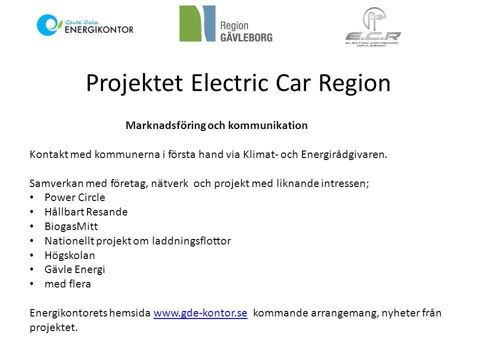 Projektet Electric Car Region Marknadsföring och kommunikation Kontakt med kommunerna i första hand via Klimat- och Energirådgivaren. Samverkan med fö