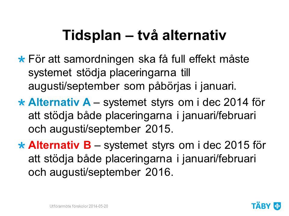 Tidsplan – två alternativ För att samordningen ska få full effekt måste systemet stödja placeringarna till augusti/september som påbörjas i januari. A