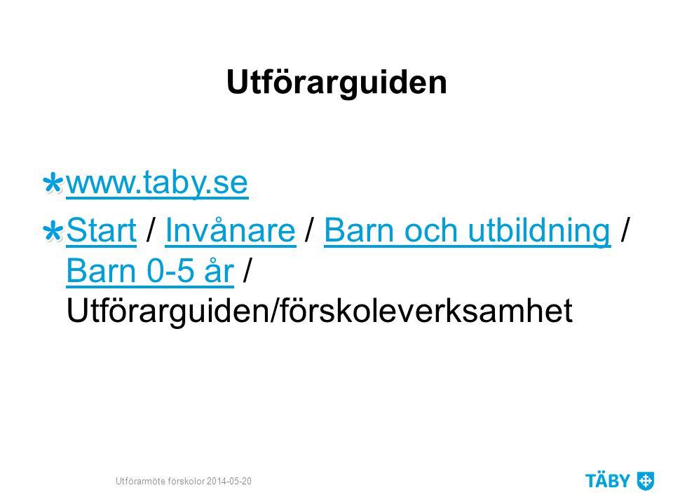 Utförarguiden www.taby.se StartStart / Invånare / Barn och utbildning / Barn 0-5 år / Utförarguiden/förskoleverksamhetInvånareBarn och utbildning Barn 0-5 år Utförarmöte förskolor 2014-05-20