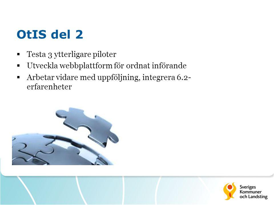 OtIS del 2  Testa 3 ytterligare piloter  Utveckla webbplattform för ordnat införande  Arbetar vidare med uppföljning, integrera 6.2- erfarenheter