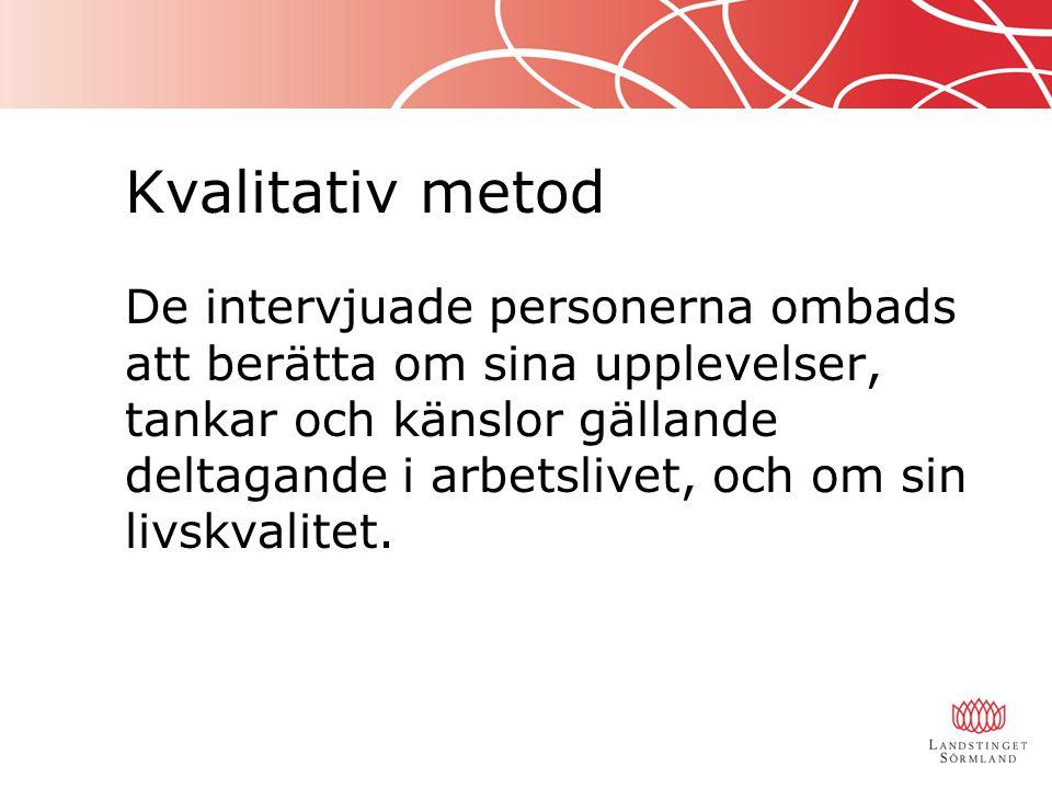 Urval Strategiskt urval bland personer i Sörmland som använder kokleaimplantat.