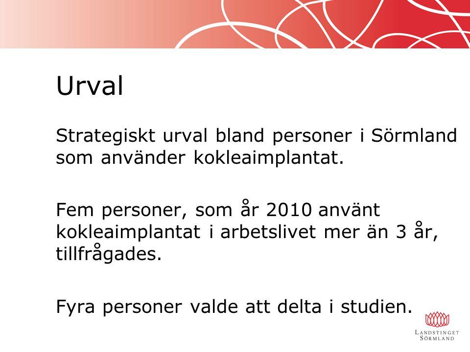 Urval Strategiskt urval bland personer i Sörmland som använder kokleaimplantat. Fem personer, som år 2010 använt kokleaimplantat i arbetslivet mer än