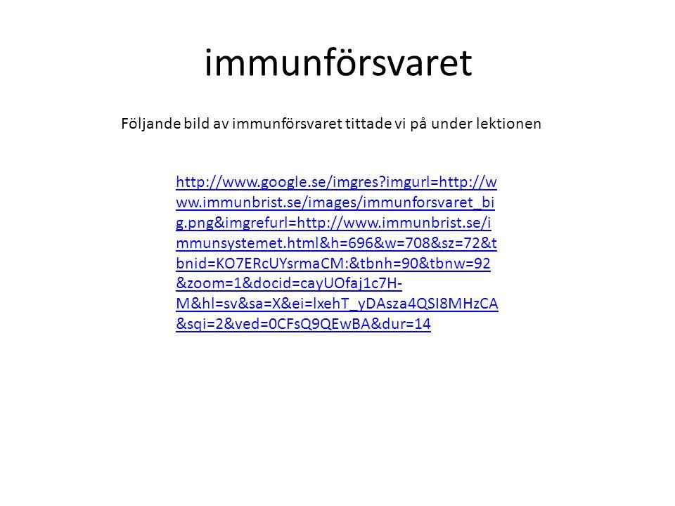 immunförsvaret http://www.google.se/imgres?imgurl=http://w ww.immunbrist.se/images/immunforsvaret_bi g.png&imgrefurl=http://www.immunbrist.se/i mmunsy