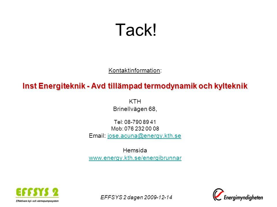 Tack! Kontaktinformation: Inst Energiteknik - Avd tillämpad termodynamik och kylteknik KTH Brinellvägen 68, Tel: 08-790 89 41 Mob: 076 232 00 08 Email